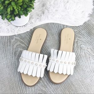 Kate Spade Pearls White Leather Sandals Size 5